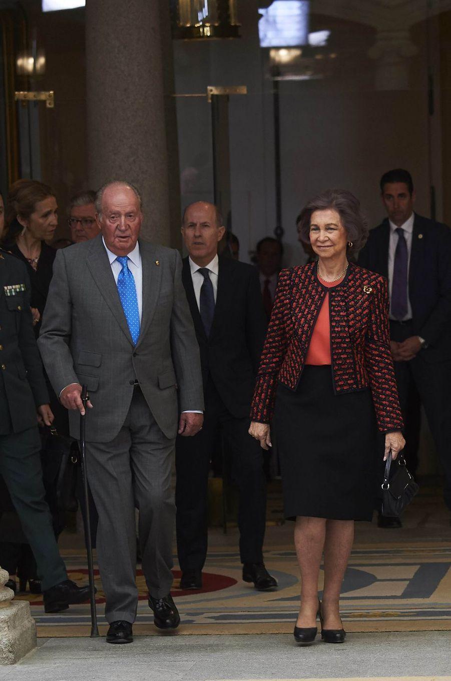 L'ex-roi Juan Carlos d'Espagne et l'ex-reine Sofia à Madrid, le 19 février 2018