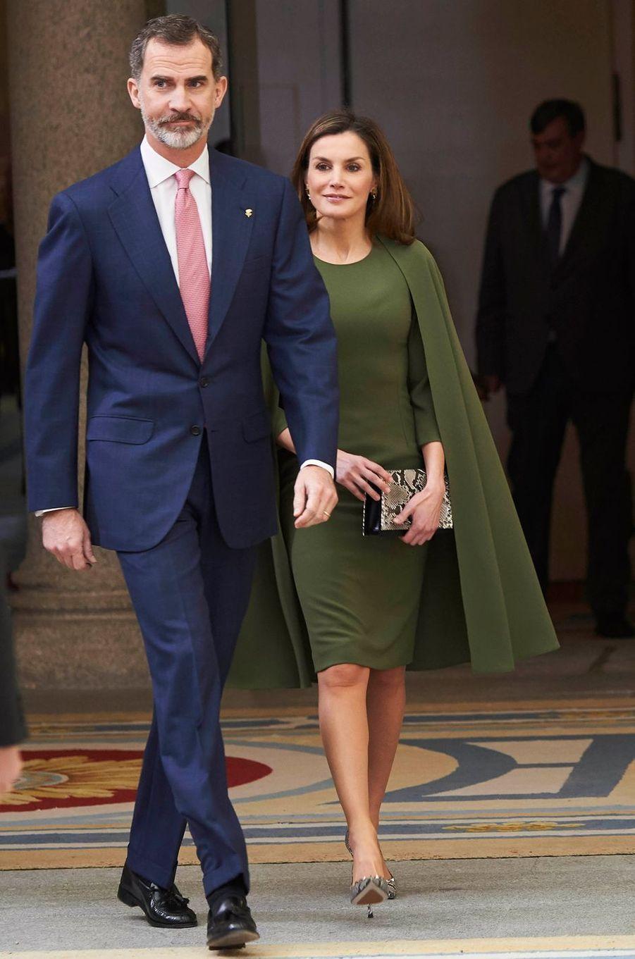 Le roi Felipe VI et la reine Letizia d'Espagne à Madrid, le 19 février 2018