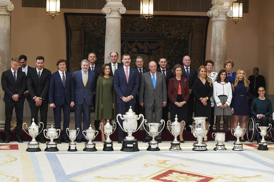 La famille royale d'Espagne à Madrid, le 19 février 2018
