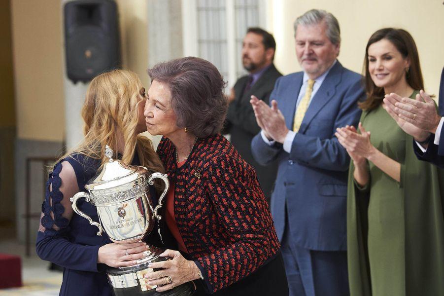 L'ex-reine Sofia et la reine Letizia d'Espagne à Madrid, le 19 février 2018