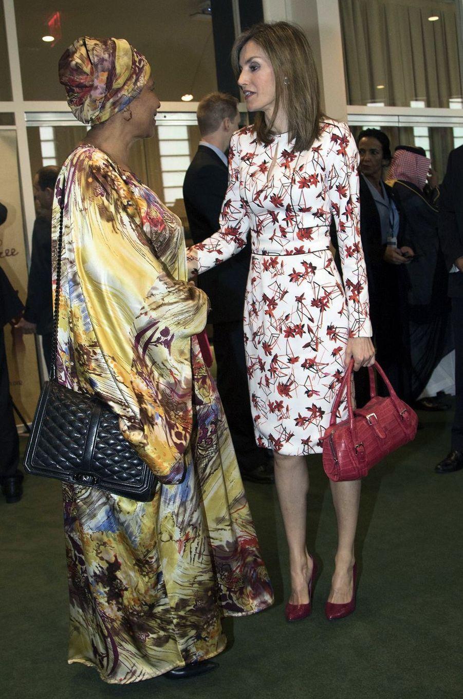 La reine Letizia d'Espagne avec Phumzile Mlambo-Ngcuka à New York, le 19 septembre 2016