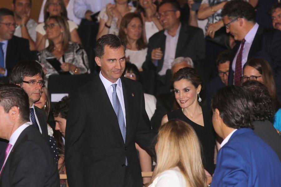 La reine Letizia et le roi Felipe VI d'Espagne à Gérone, le 1er juillet 2016