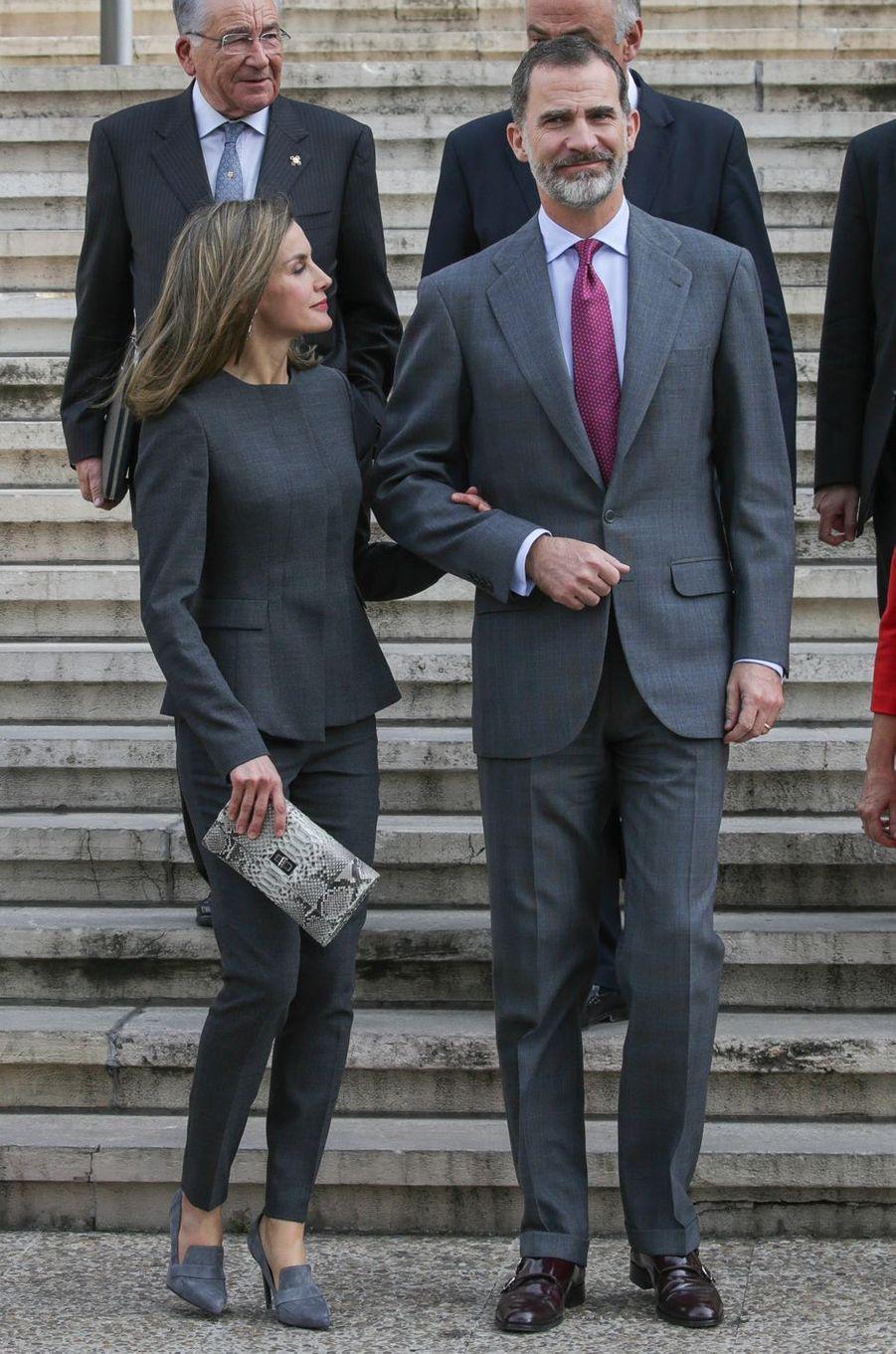 La reine Letizia et le roi Felipe VI d'Espagne à Madrid, le 24 novembre 2017