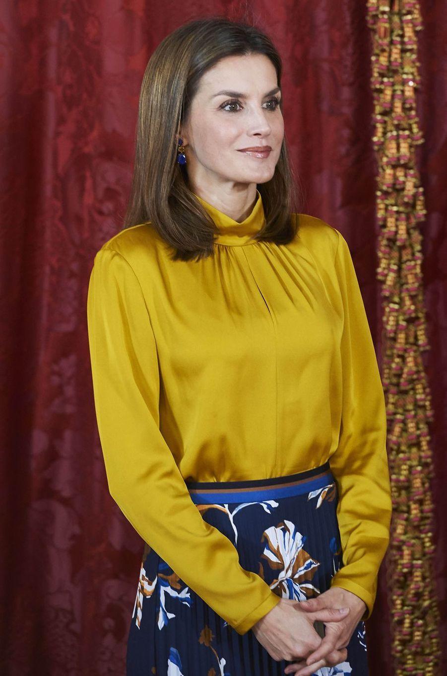 La reine Letizia d'Espagne à Madrid, le 20 novembre 2017