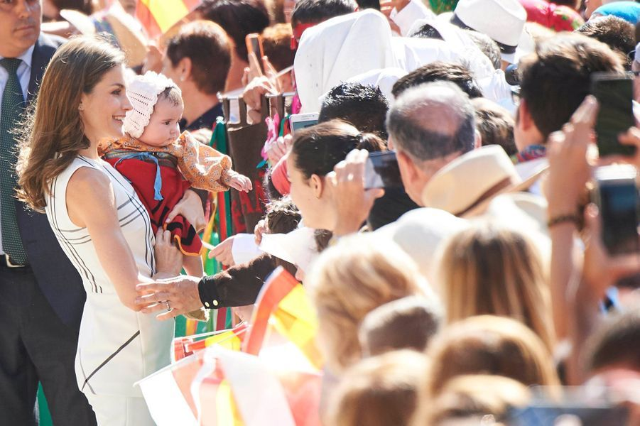 La reine Letizia d'Espagne à Cameleno le 19 juillet 2017