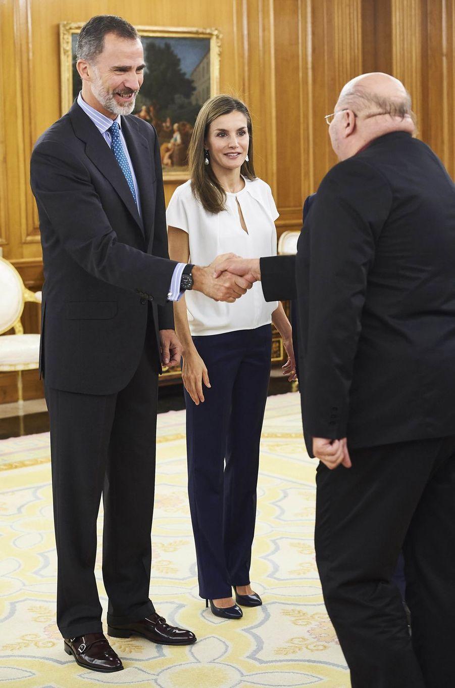 La reine Letizia et le roi Felipe VI d'Espagne à Madrid, le 27 juillet 2017