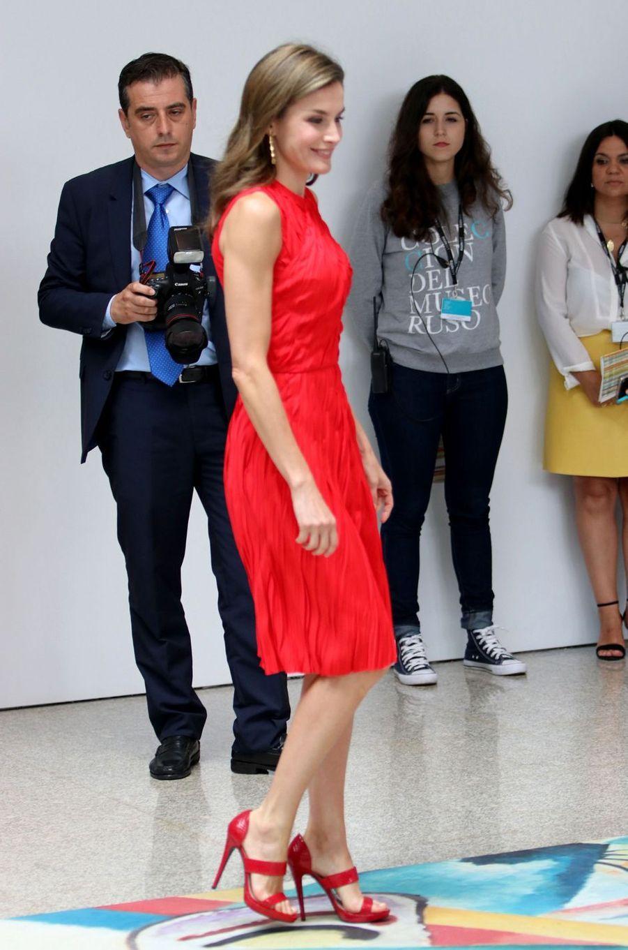 La reine Letizia d'Espagne à Malaga, le 24 juillet 2017