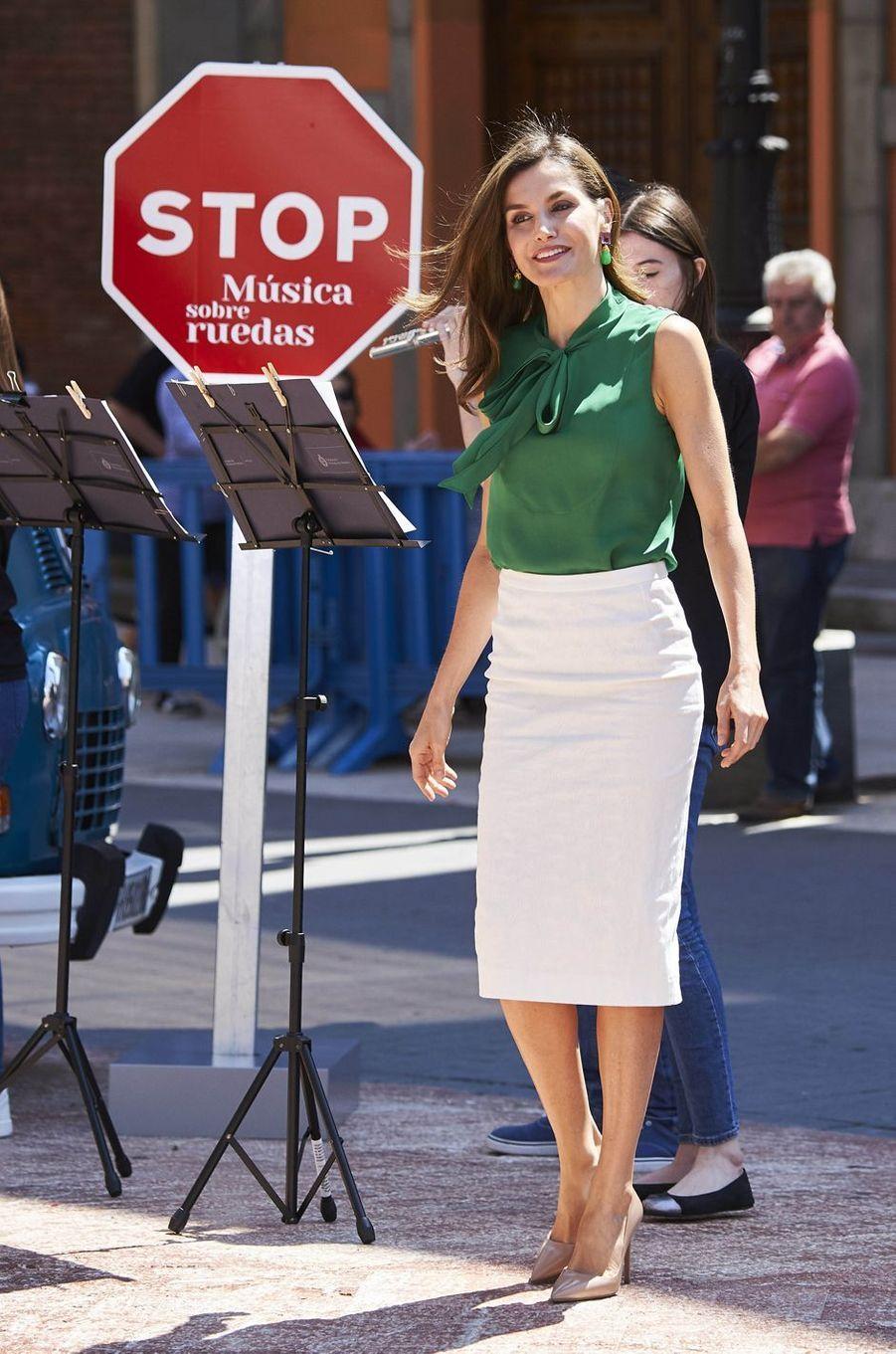 La reine Letizia d'Espagne à Oviedo, le 21 juillet 2017