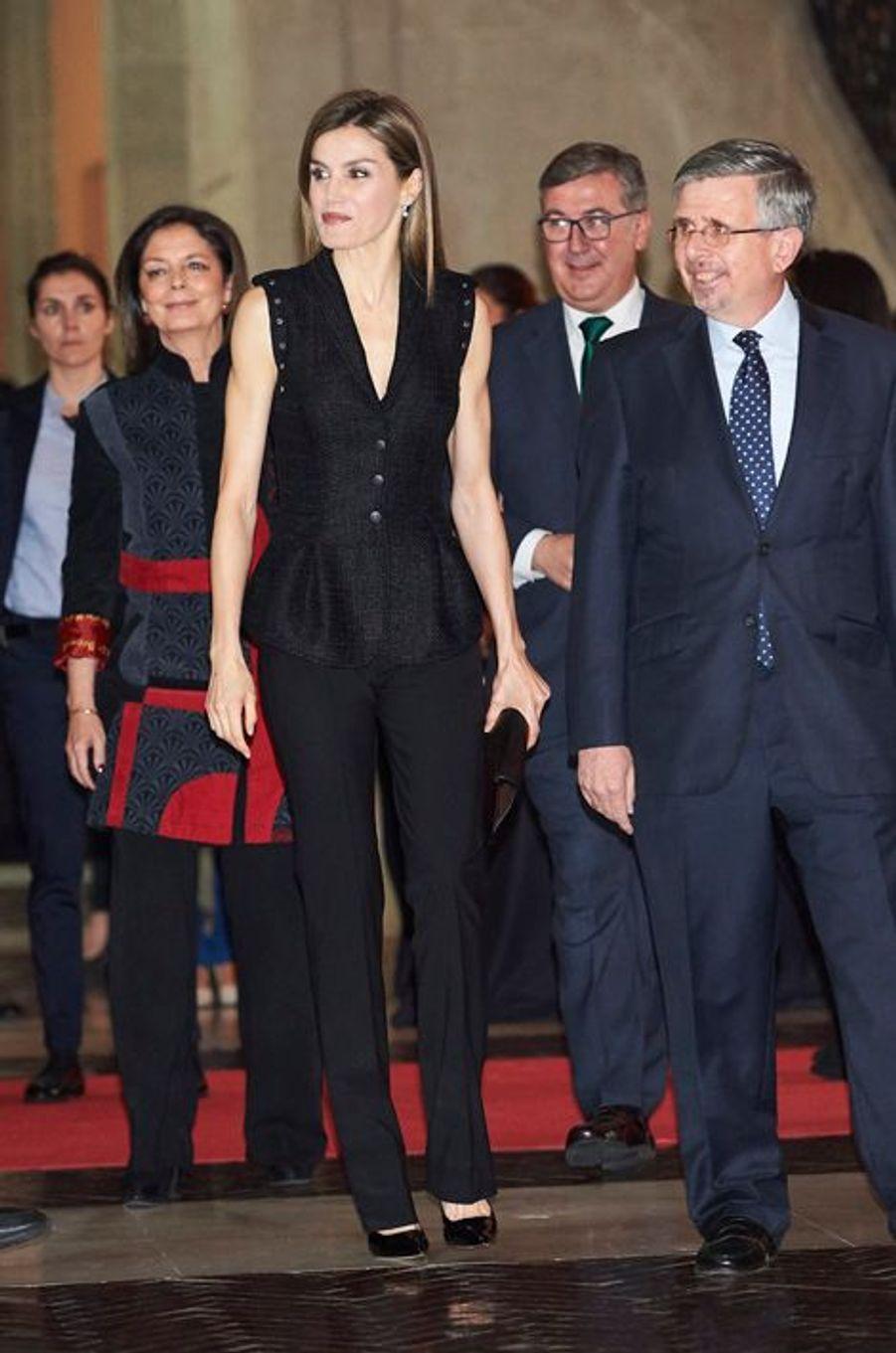 La reine Letizia d'Espagne à Madrid, le 19 avril 2016