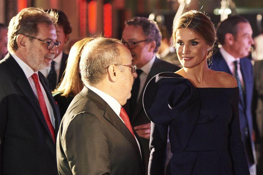 La reine Letizia d'Espagne à Madrid, le 4 décembre 2017