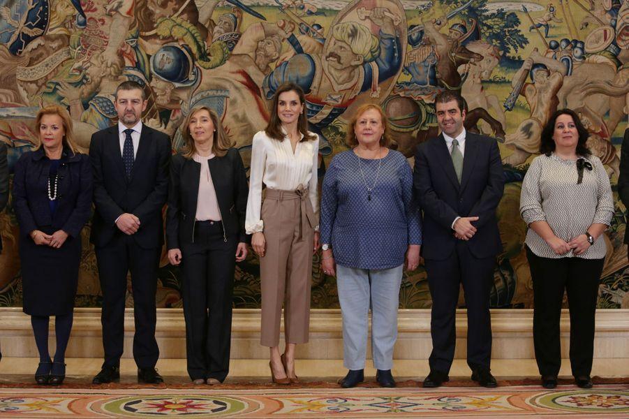La reine Letizia d'Espagne en audience à Madrid, le 23 janvier 2018