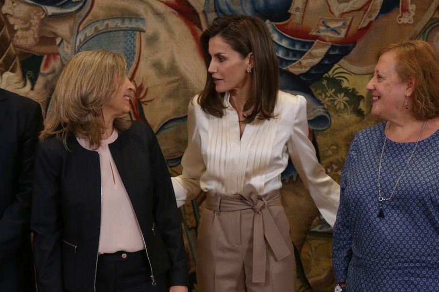 La reine Letizia d'Espagne en audience au palais de la Zarzuela à Madrid, le 23 janvier 2018