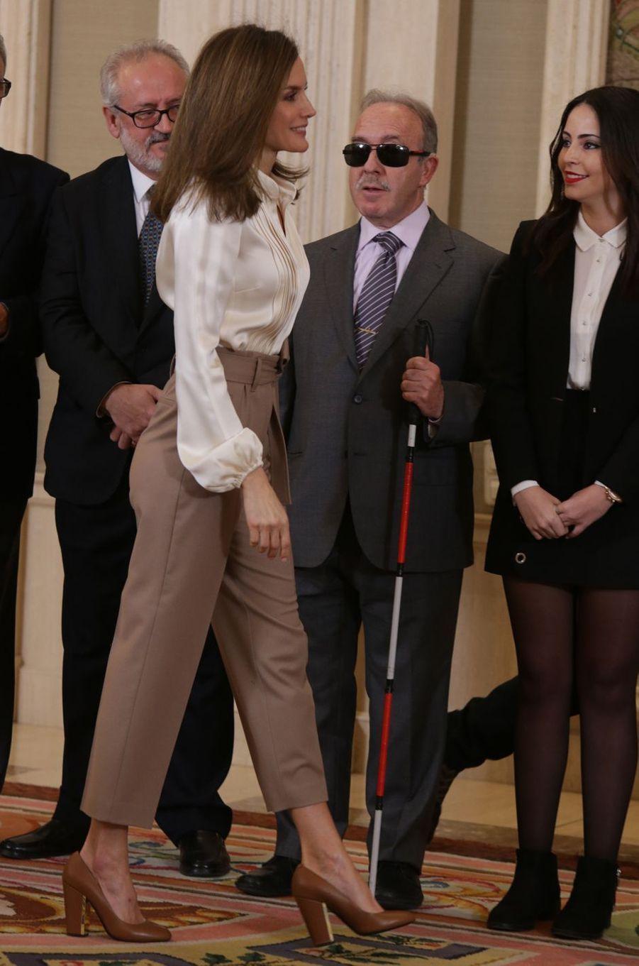 La reine Letizia d'Espagne à Madrid, le 23 janvier 2018