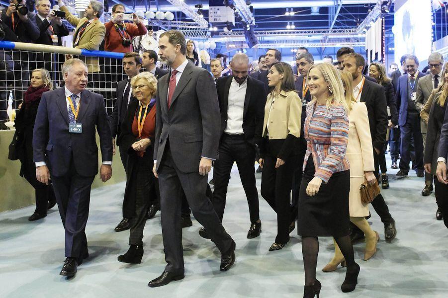 La reine Letizia et le roi Felipe VI d'Espagne au FITUR à Madrid, le 17 janvier 2018