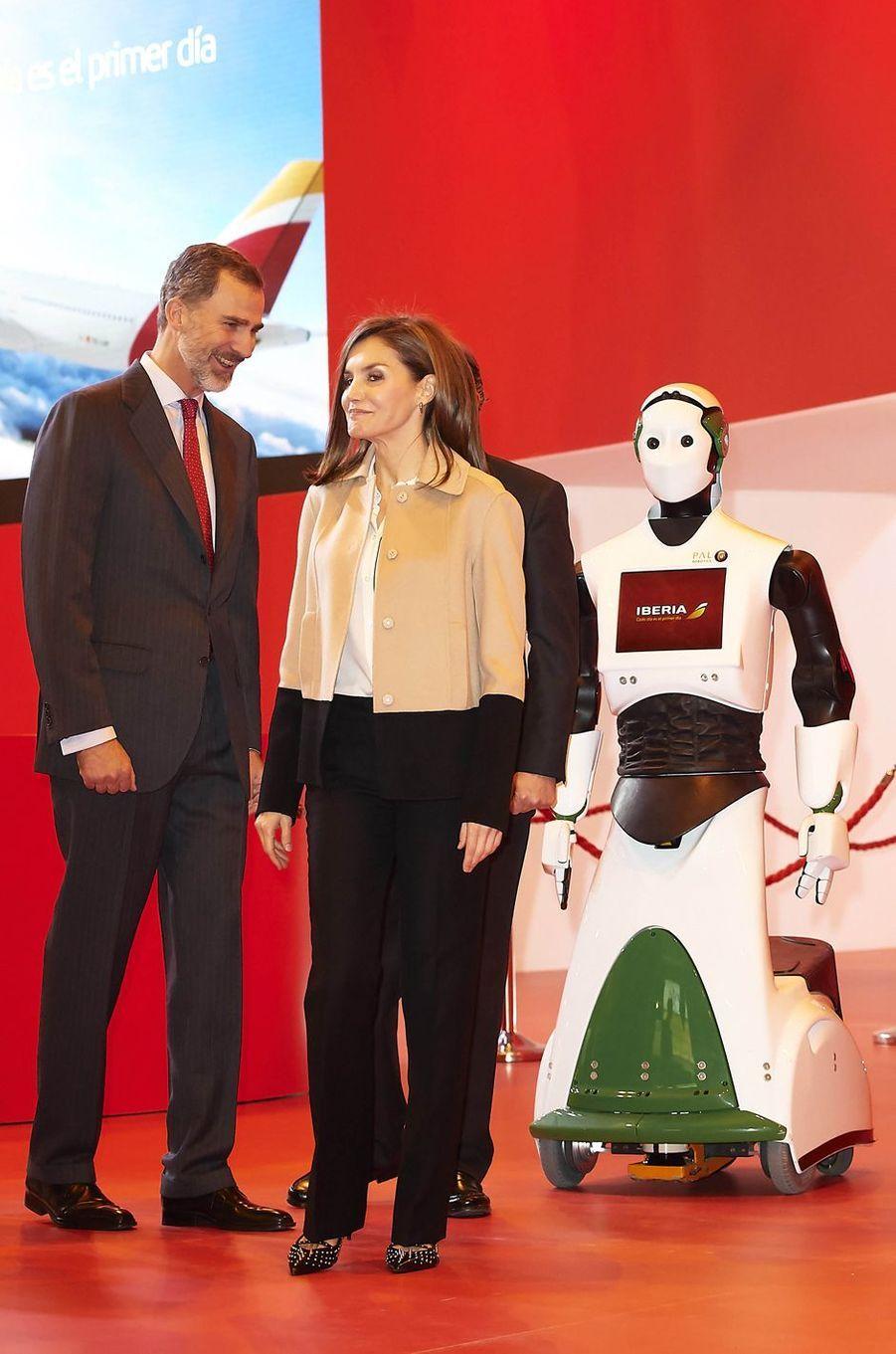 La reine Letizia et le roi Felipe VI d'Espagne à Madrid, le 17 janvier 2018