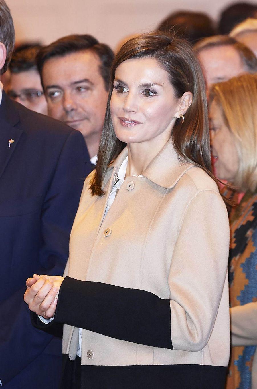 La reine Letizia d'Espagne à Madrid, le 17 janvier 2018