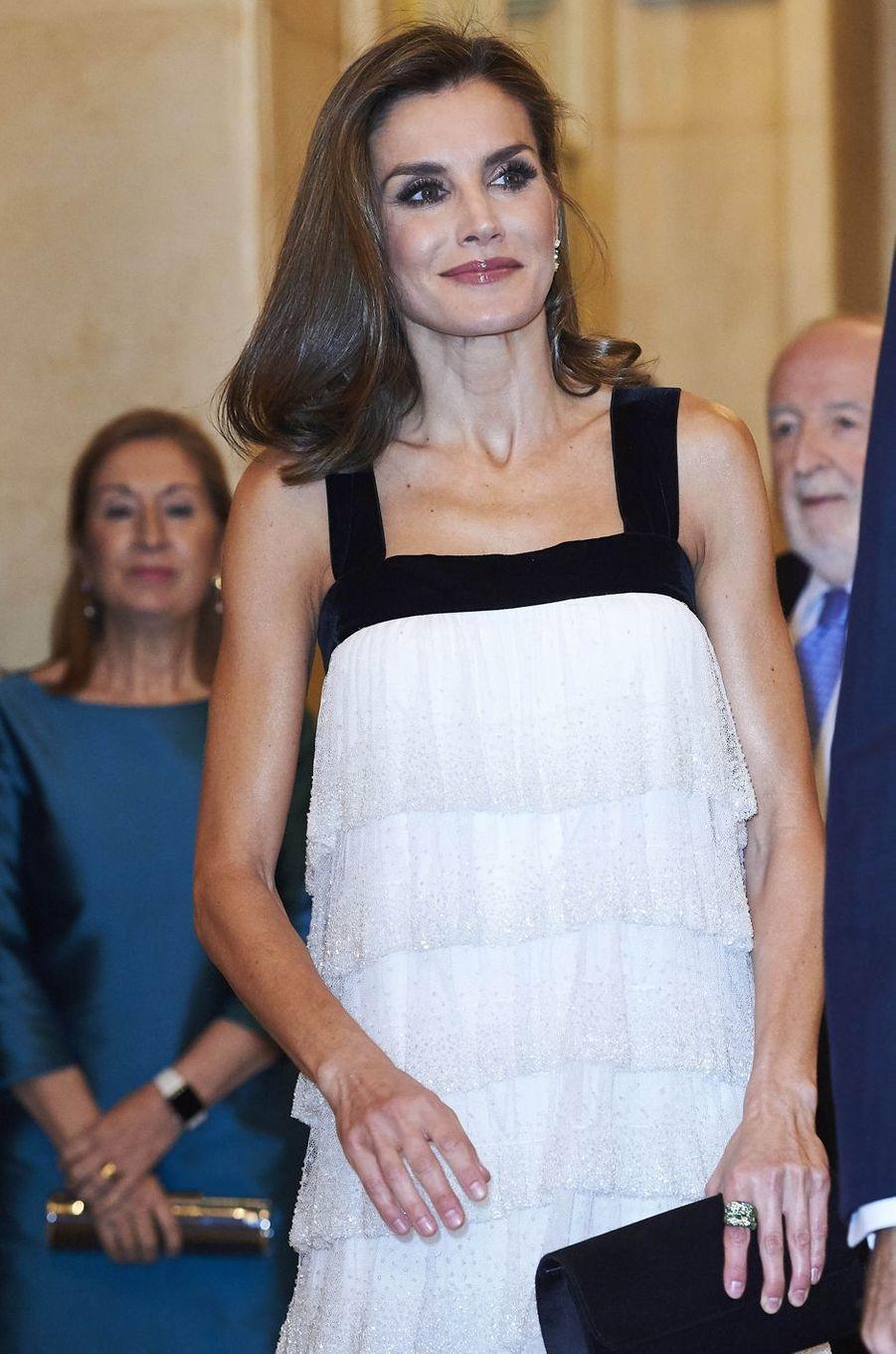 La reine Letizia d'Espagne à Madrid, le 22 novembre 2017