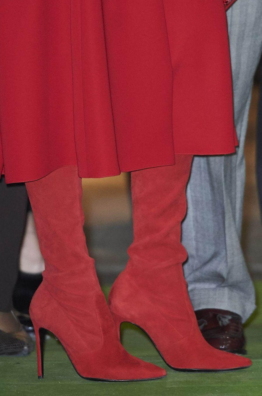 Les bottes de la reine Letizia d'Espagne à Madrid, le 22 février 2018