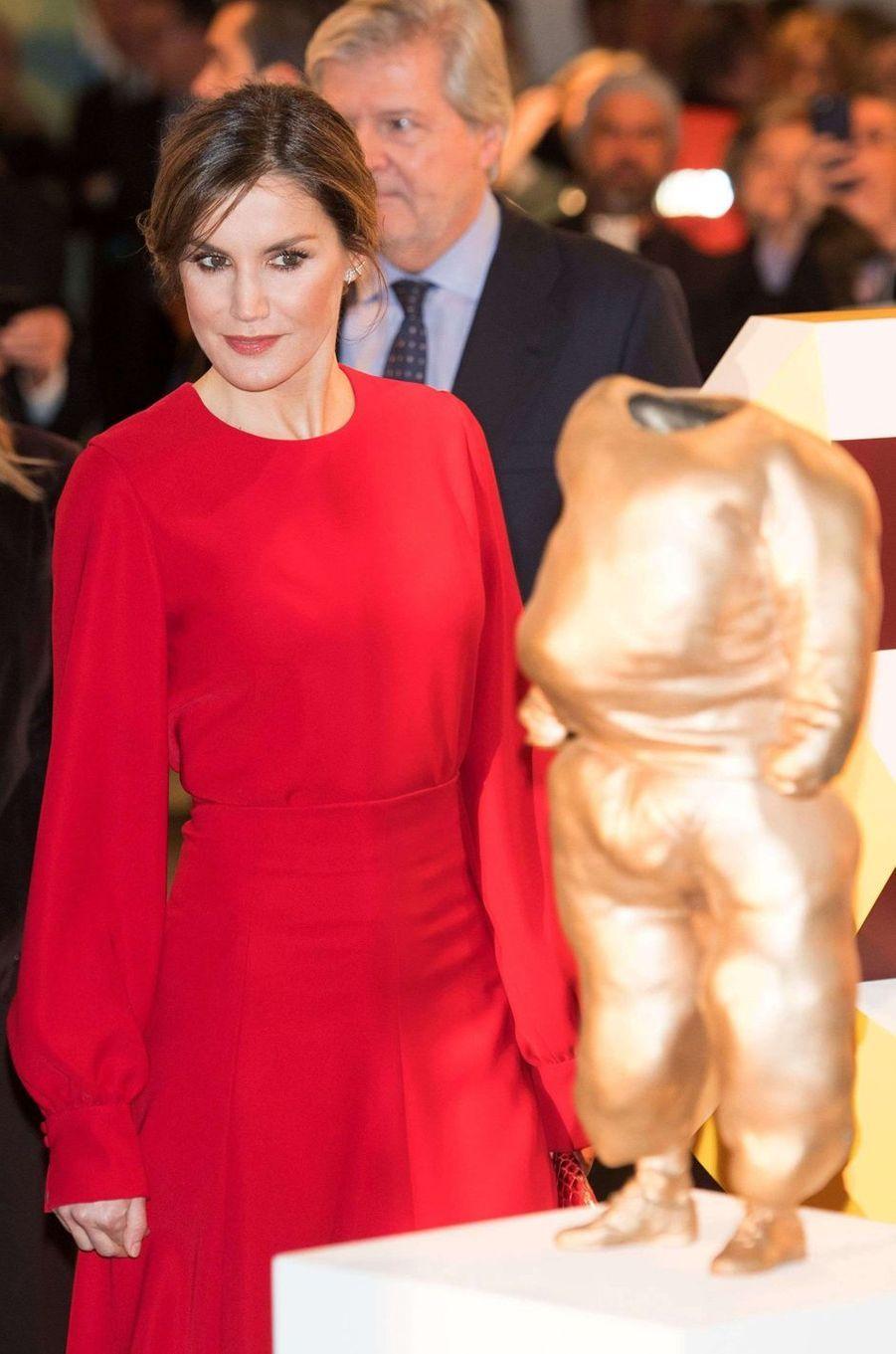 La reine Letizia d'Espagne à Madrid, le 22 février 2018