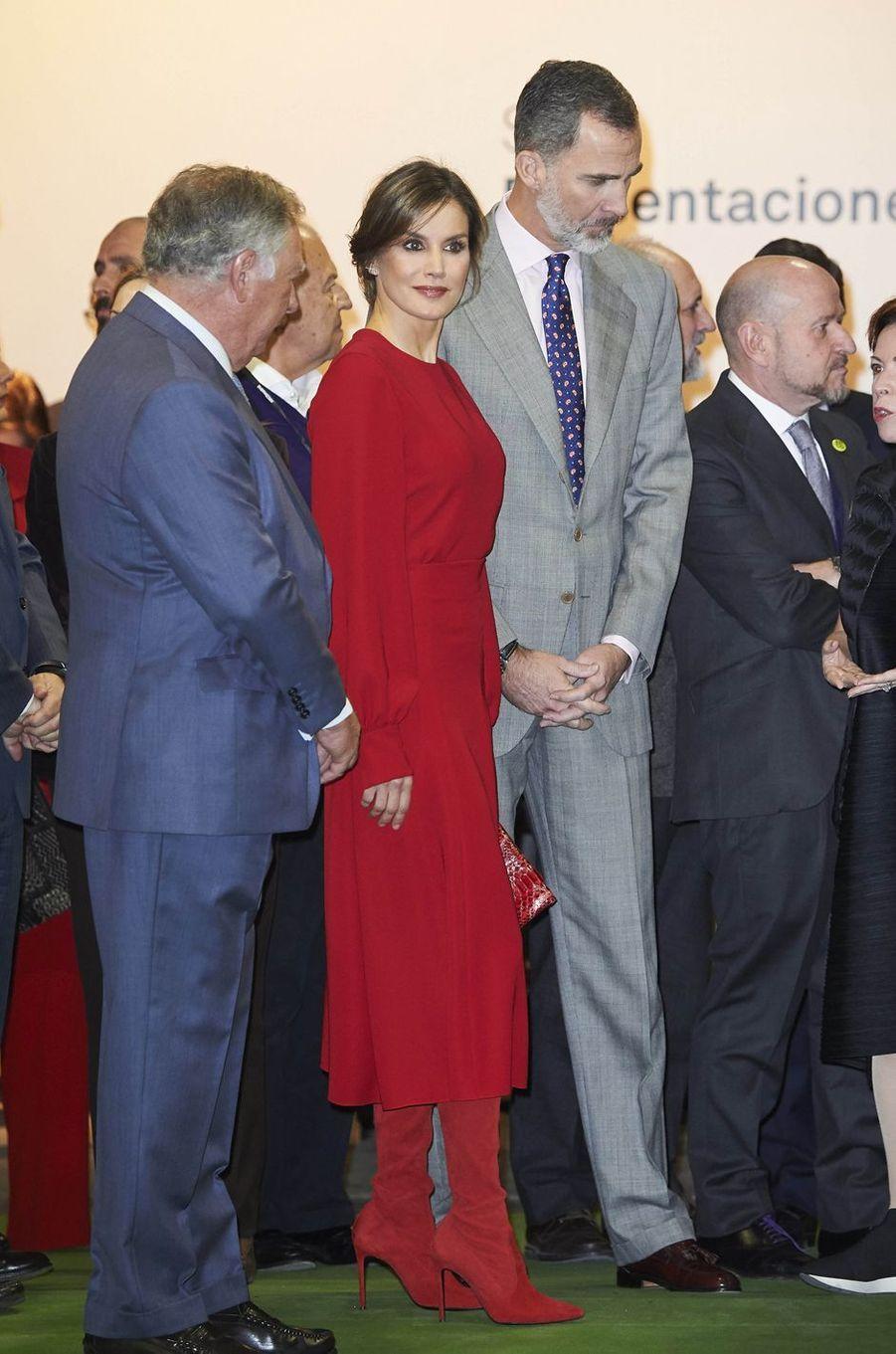 La reine Letizia et le roi Felipe VI d'Espagne à Madrid, le 22 février 2018