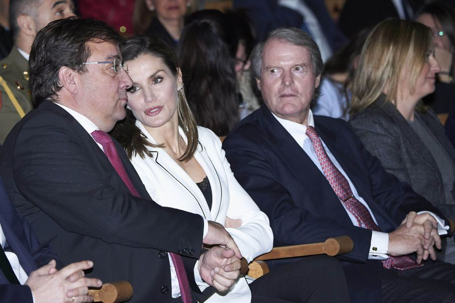 La reine Letizia d'Espagne à Mérida, le 7 février 2018