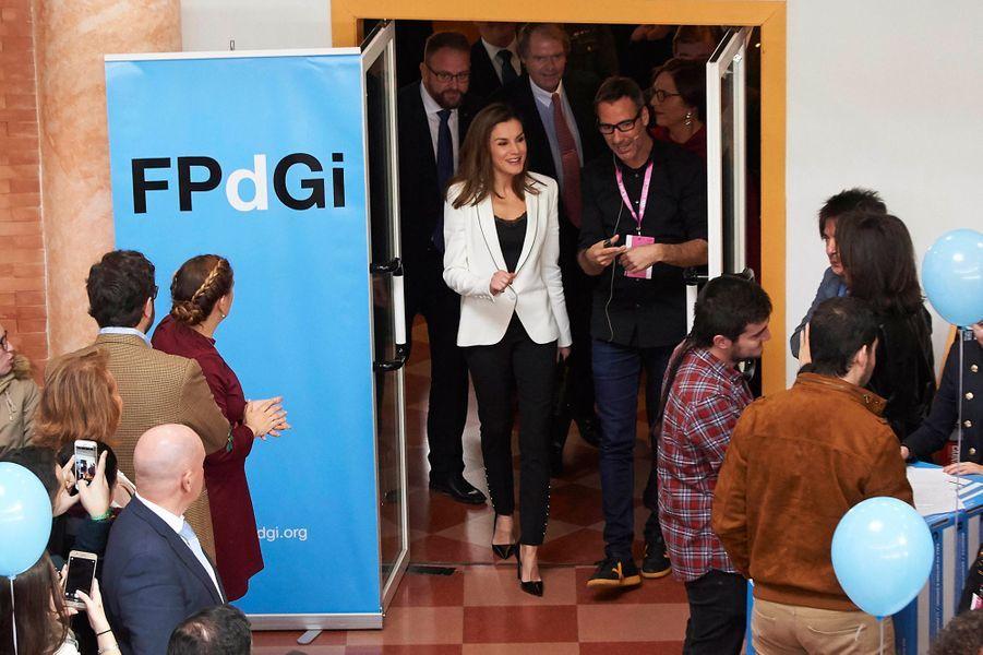La reine Letizia d'Espagne au centre culturel Alcazaba à Mérida, le 7 février 2018