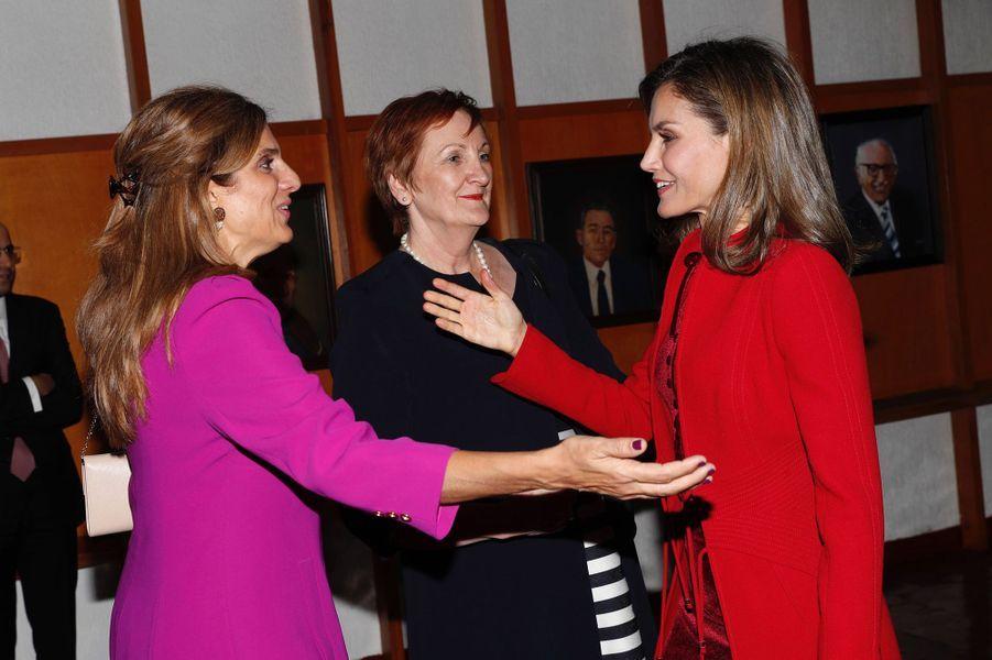 La reine Letizia d'Espagne avec la princesse Dina Mired de Jordanie et Sanchia Aranda à Mexico, le 14 novembre 2017