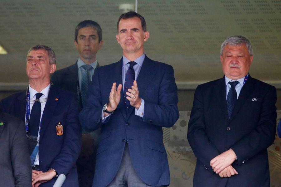Le roi Felipe VI d'Espagne au Stadium à Toulouse lors de l'Euro 2016, le 13 juin 2016