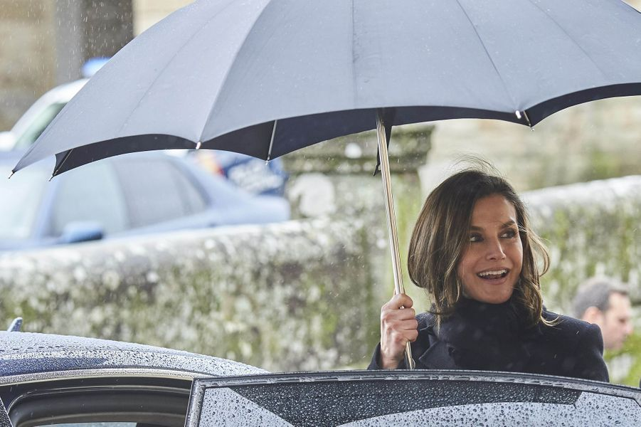 La reine Letizia d'Espagne à Saint-Jacques de Compostelle, le 2 mars 2018