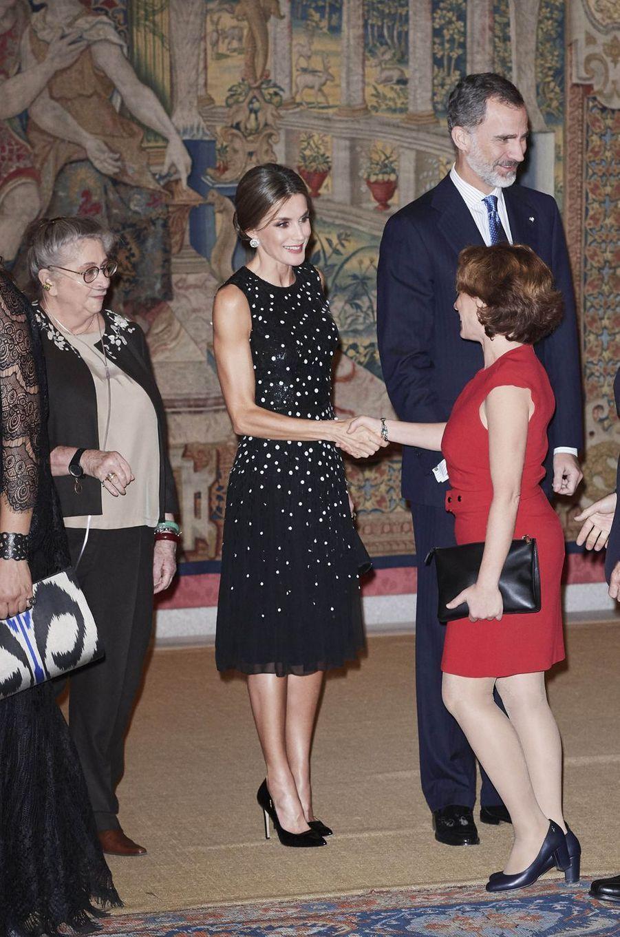La reine Letizia et le roi Felipe VI d'Espagne à Madrid, le 7 novembre 2017