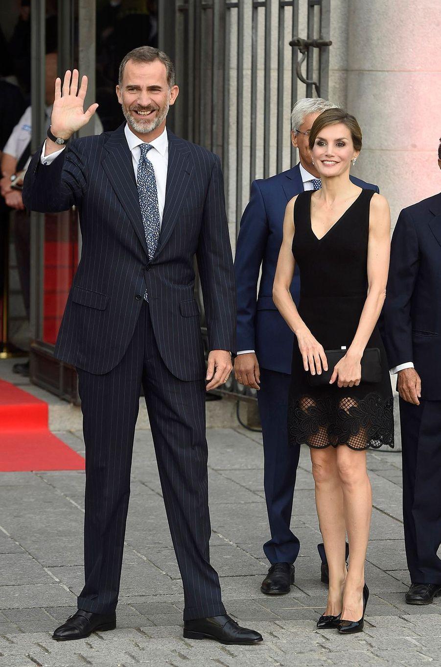 La reine Letizia et le roi Felipe VI d'Espagne à Madrid, le 15 septembre 2016