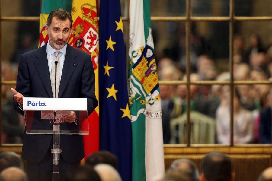 Le roi Felipe VI d'Espagne à Porto, le 28 novembre 2016