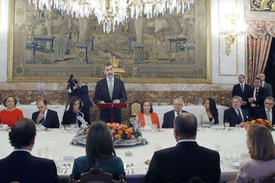 La reine Letizia et le roi Felipe VI d'Espagne à Madrid, le 8 mai 2017