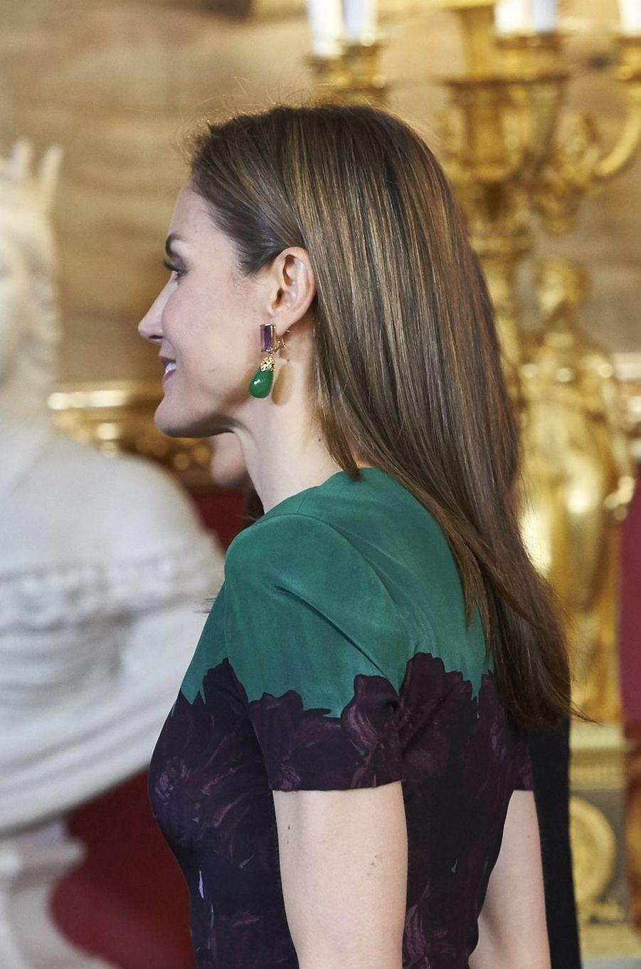 La reine Letizia d'Espagne à Madrid, le 8 mai 2017