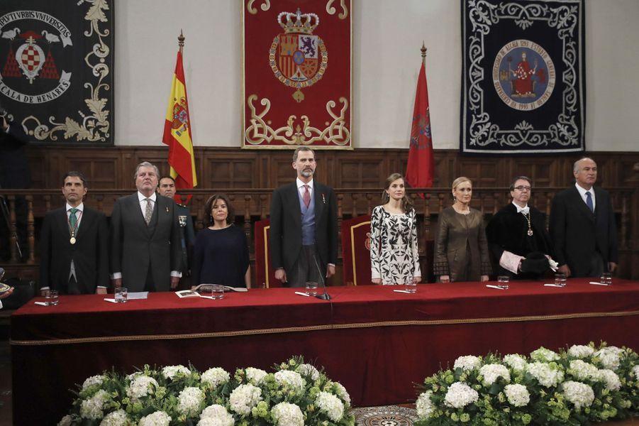 La reine Letizia et le roi Felipe VI d'Espagne à l'Université d'Alcala de Henares, le 20 avril 2017