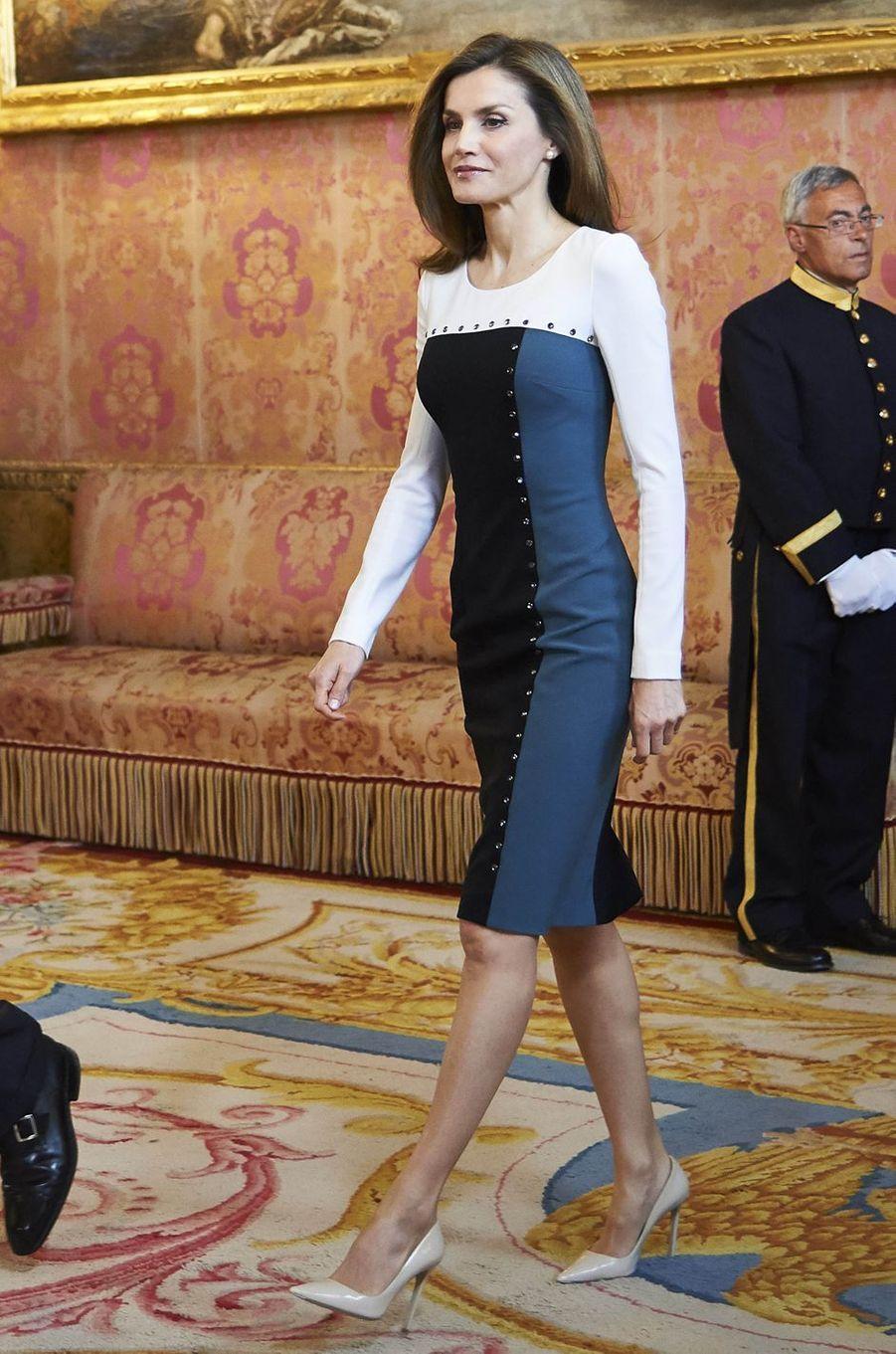 La reine Letizia d'Espagne à Madrid, le 19 avril 2017