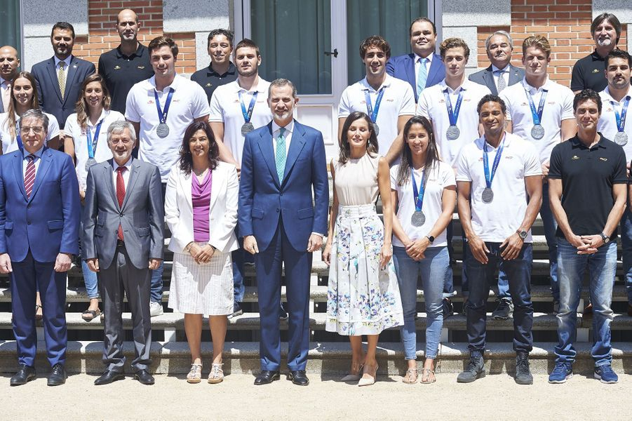 La reine Letizia et le roi Felipe VI auPalais de Zarzuela à Madrid le 30 juillet 2019