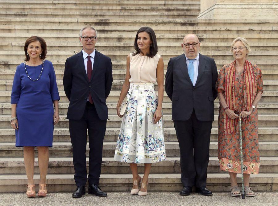 La reine Letizia en visite à laBibliothèque nationale d'Espagne à Madrid le 30 juillet 2019