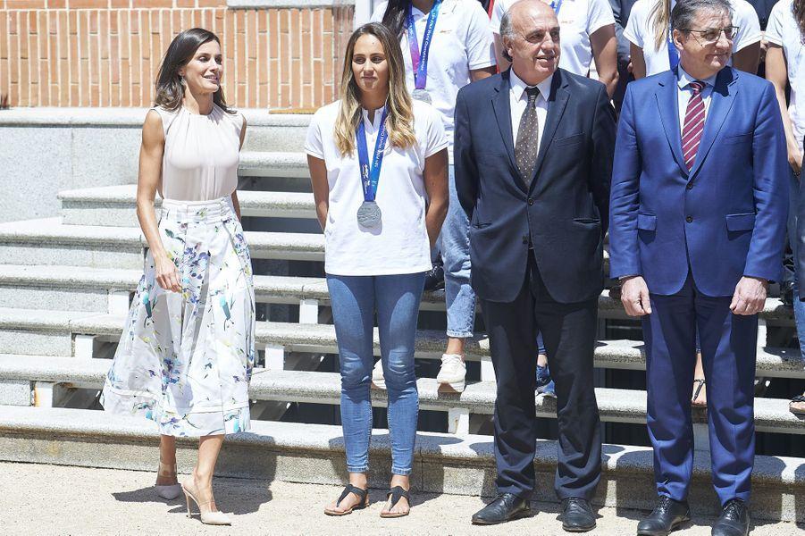 La reine Letizia auPalais de Zarzuela à Madrid le 30 juillet 2019