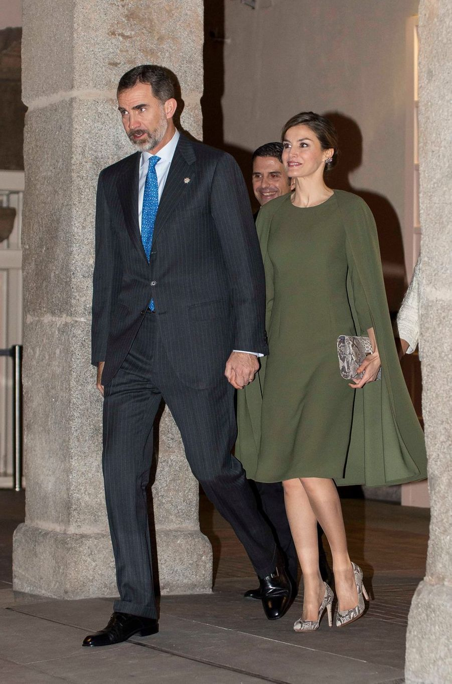 La reine Letizia et le roi Felipe VI d'Espagne au Musée archéologique régional à Alcalá de Henares, le 6 février 2017