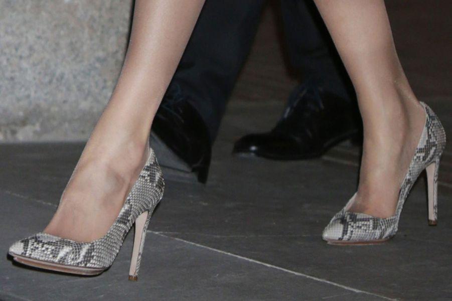 Les souliers de la reine Letizia d'Espagne à Alcalá de Henares, le 6 février 2017