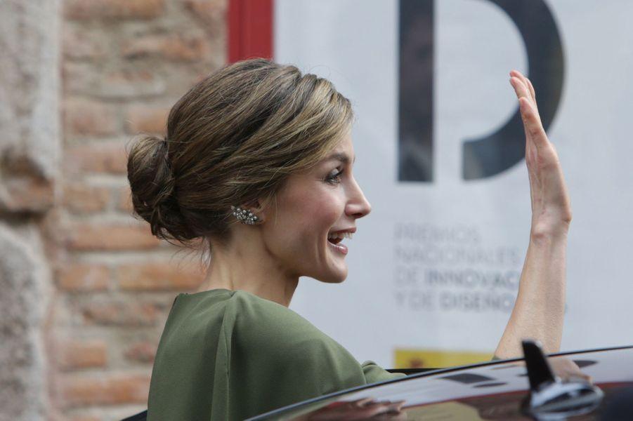 La reine Letizia d'Espagne à Alcalá de Henares, le 6 février 2017
