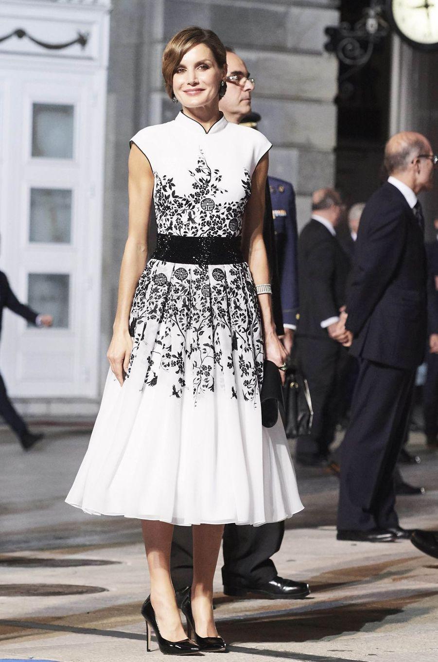La reine Letizia d'Espagne, le 20 octobre 2017