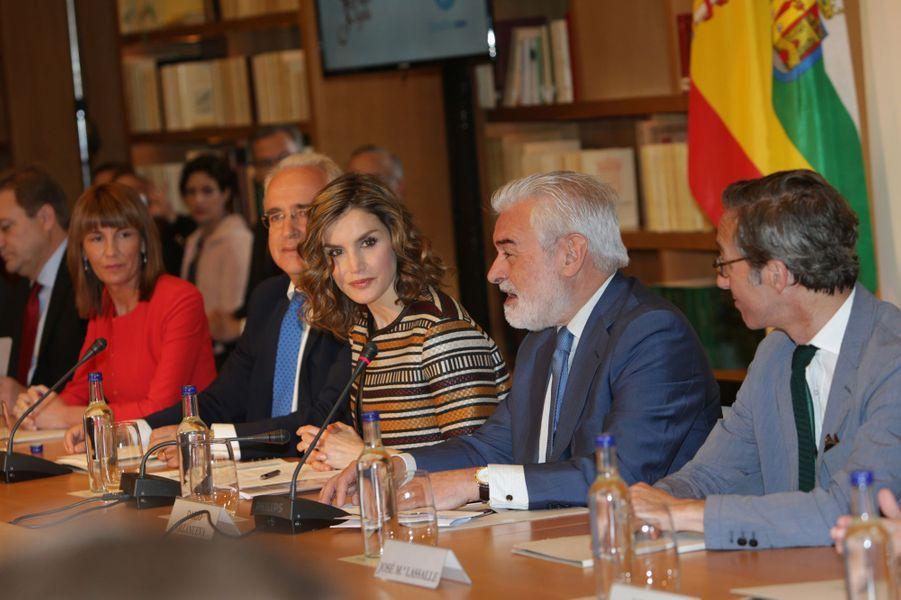 La reine Letizia d'Espagne à San Millán de la Cogolla, le 25 mai 2016
