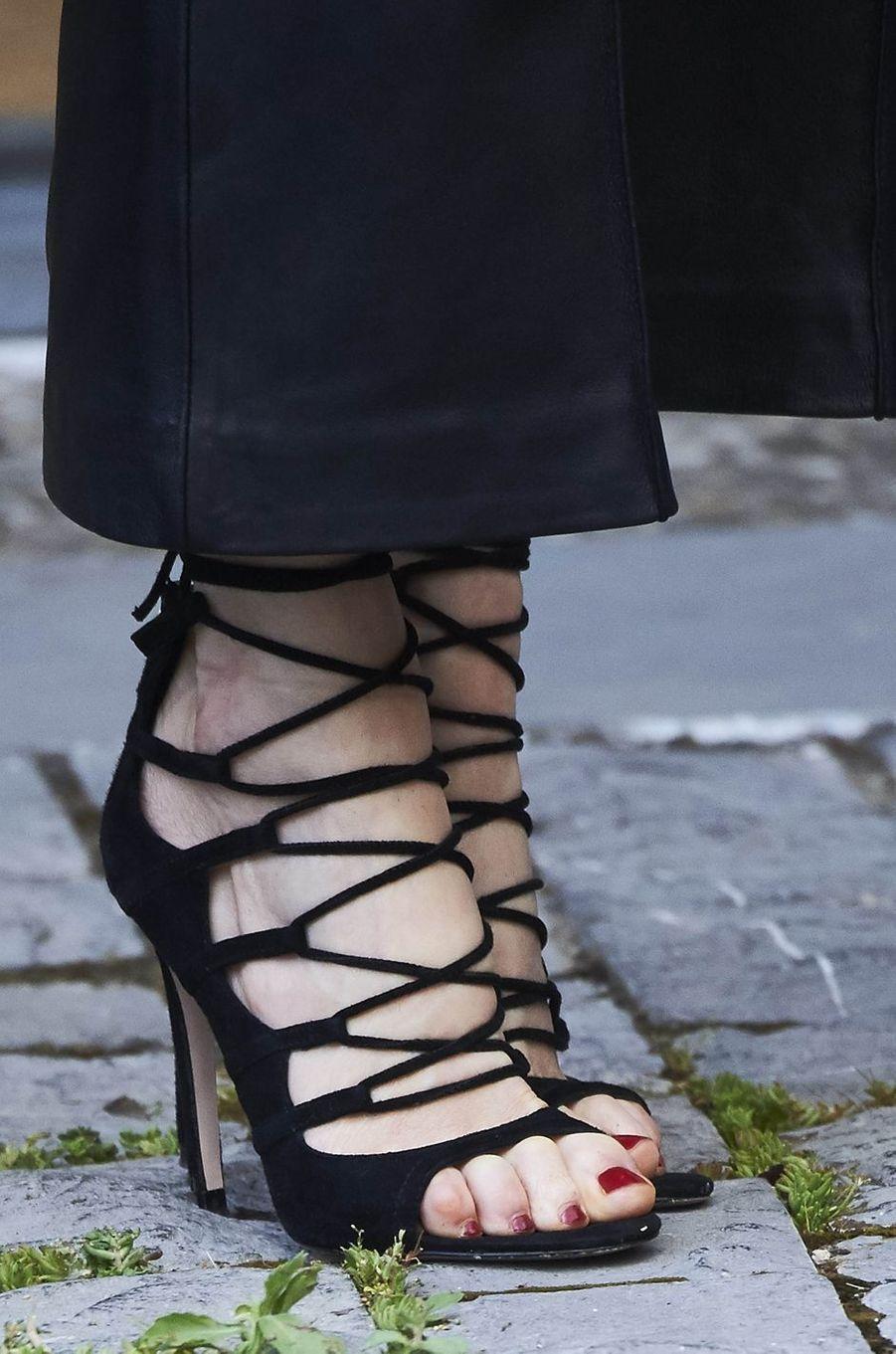 Les chaussures de la reine Letizia d'Espagne à San Millán de la Cogolla, le 25 mai 2016