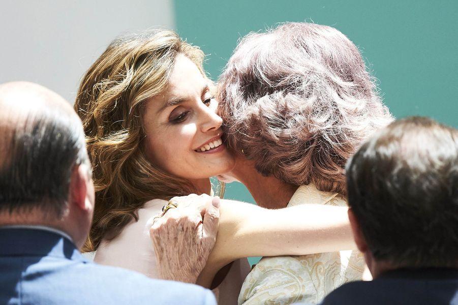 La reine Letizia et l'ancienne reine Sofia d'Espagne à Madrid, le 22 juin 2016