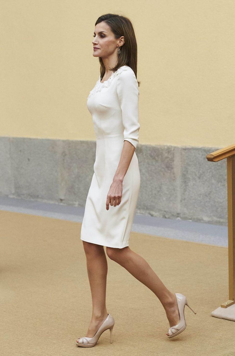 La reine Letizia d'Espagne au palais du Pardo à Madrid, le 28 septembre 2016