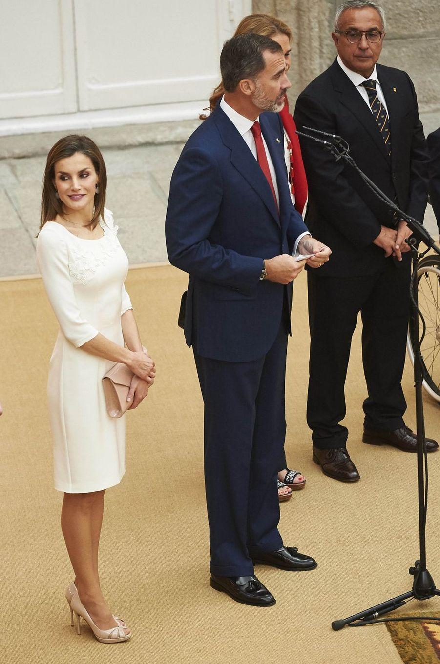 La reine Letizia et le roi Felipe VI d'Espagne à Madrid, le 28 septembre 2016