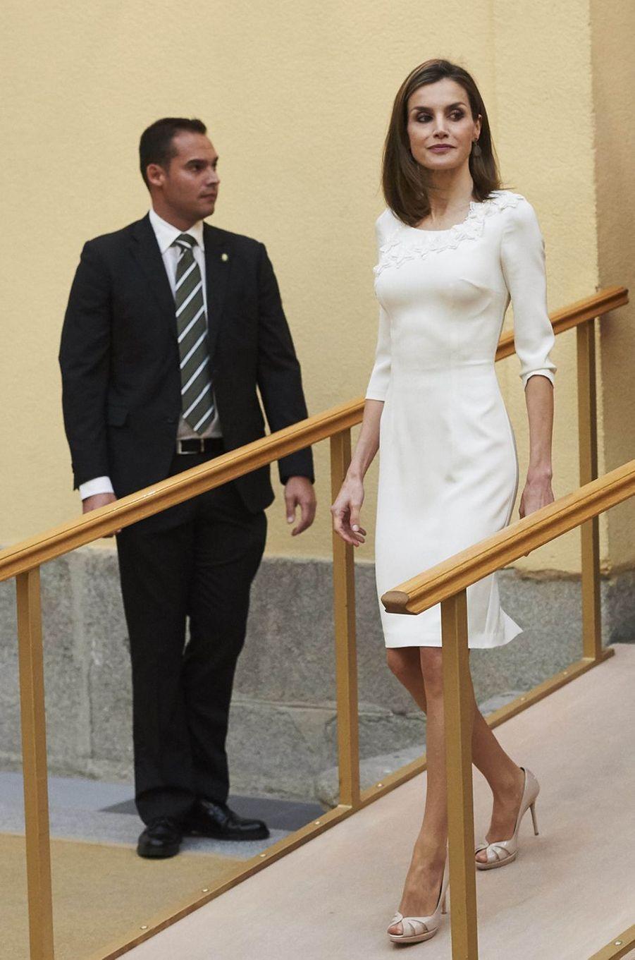 La reine Letizia d'Espagne à Madrid, le 28 septembre 2016