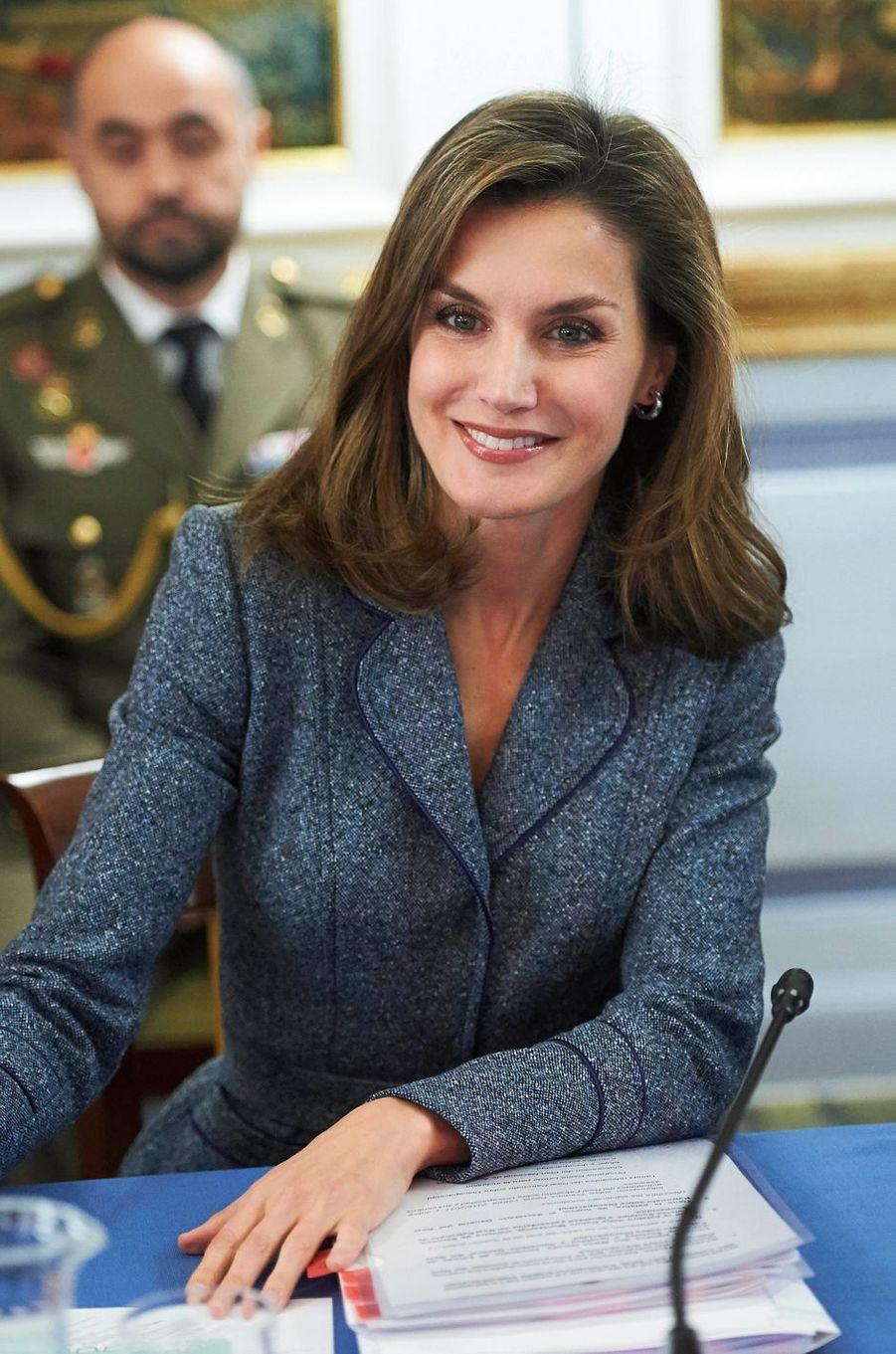 La reine Letizia d'Espagne en réunion au palais du Pardo à Madrid, le 21 novembre 2017